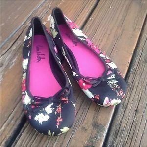 Sam & Libby Black Pink Floral Ballet Flats Sz 9